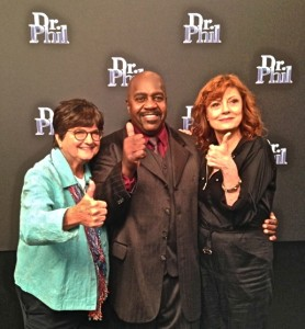 "From left: Sister Helen Prejean, spiritual advisor for Oklahoma death row Inmate Richard Glosip, Illinois death row exoneree, Nathson ""Nate"" Fields, and actress Susan Sarandon will appear on the Dr. Phil Show, August 31, on behalf of Glossip's innocence.  Photo provided."