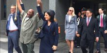 Vanessa Potkin (blue suit center) with Alfred Swinton (Credit: Innocence Project Facebook)