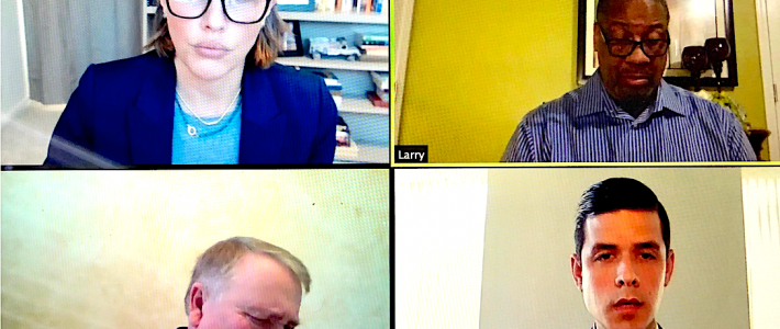 (From top left clockwise) Oklahoma Pardon and Parole Board members Kelly Doyle, Larry Morris, Adam Luck and Allen McCall voted 3-1 to grant Julius Jones, who has been on death row for over two decades, a Stage Two commutation hearing, which will take place later this year. Facebook video screenshot